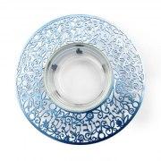 Yair Emanuel Blue Pomegranate Metal Cutout And Glass Honey Dish