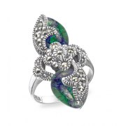 Marina Jewelry Sterling Silver Filigree Ring With Eilat Stones And Marcasite Stones