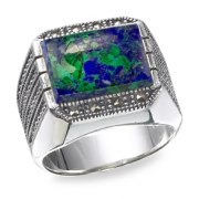 Marina Jewelry Men's Sterling Silver Ring With Rectangular Eilat Stone And Marcasite Stones