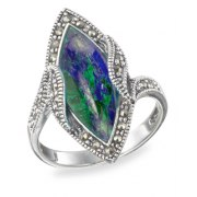 Marina Jewelry Diamond Shaped Sterling Silver Eilat Stone And Marcasite Stone Ring