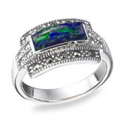 Marina Jewelry Rectangular Sterling Silver Eilat Stone Ring With Marcasite Frame