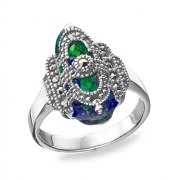 Marina Jewelry Sterling Silver Filigree Ring With Eilat Stone And Marcasite Stones