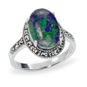 Marina Jewelry Sterling Silver Cocktail Ring With Eilat Stone And Marcasite Border