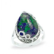 Marina Jewelry Sterling Silver Filigree Teardrop Shaped Ring With Eilat Stone And Marcasite