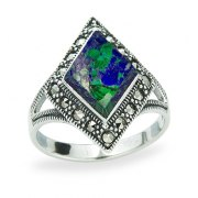 Marina Jewelry Sterling Silver Rhombus Ring With Eilat Stone And Marcasite