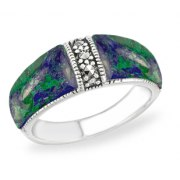 Marina Jewelry Sterling Silver Ring With Eilat Stone Sides And Marcasite Stone Center
