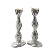 Sterling Silver Shabbat Candlesticks with Leaves