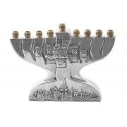 Sterling Silver Jerusalem and Kotel Hanukkah Menorah