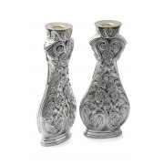 Sterling Silver Shabbat Candlesticks with Grape Vines