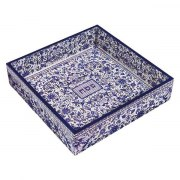 Yair Emanuel Painted Wood Passover Matzah Tray Blue Flowers Motif