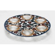 Pomegranates Glass Seder Plate by Dorit Judaica