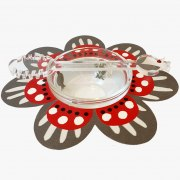 Dorit Judaica Red And Gray Flower Base With Glass Honey Dish