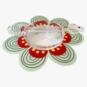 Dorit Judaica Red And Green Flower Base With Glass Honey Dish