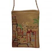 Yair Emanuel Barown Bag with Embroidered Jerusalem