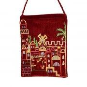 Yair Emanuel Maroon Bag with Embroidered Jerusalem