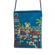 Yair Emanuel Blue Bag with Embroidered Jerusalem