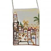 Yair Emanuel White Bag with Embroidered Jerusalem