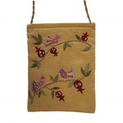 Yair Emanuel Gold Bag with Embroidered Birds
