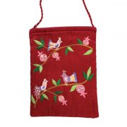 Yair Emanuel Maroon Bag with Embroidered Birds