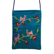 Yair Emanuel Blue Bag with Embroidered Birds