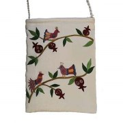 Yair Emanuel White Bag with Embroidered Birds