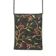Yair Emanuel Black Bag with Embroidered Flowers