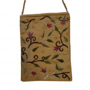 Yair Emanuel Gold Bag with Embroidered Flowers