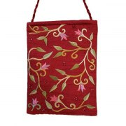 Yair Emanuel Maroon Bag with Embroidered Flowers