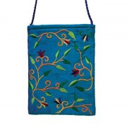 Yair Emanuel Blue Bag with Embroidered Flowers