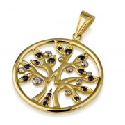 14K Gold Tree of Life set with Diamonds and Sapphire in Round Frame