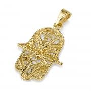 14K Gold Hamsa Pendant Intricate Filigree Design
