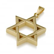 14K Gold Star of David Necklace Interwoven Thick Lines Design