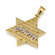 14K Gold Star of David Pendant Western Wall with Hebrew Jerusalem