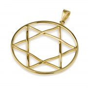 14K Gold Delicate Star of David Necklace Interwoven Thin Lines Design