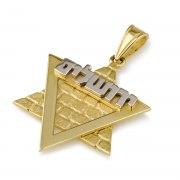 14K Yellow Gold Star of David Pendant with White Gold Hebrew Jerusalem