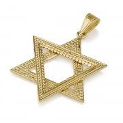 14K Gold Star of David Pendant Filigree Big Triangles Design