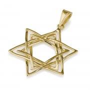 14K Gold Interwoven Double Lining Star of David Pendant