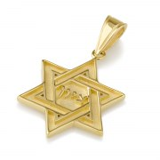 14K Gold Interwoven Star of David Necklace with Zion in Hebrew