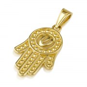 14K Gold Hamsa Pendant with Shin