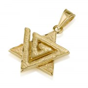 14K Textured Gold Star of David Necklace with Spiral Triangle