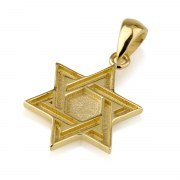 14K Gold Star of David Necklace Double Interwoven Lines