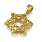 14K Textured Gold Star of David Necklace 3D Design