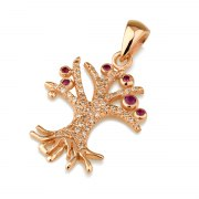 14K Rose Gold Tree of Life Necklace set with Diamonds and Rubies