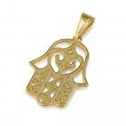 14K Gold Hamsa Pendant with Diamond Shape Ornate
