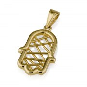 14K Gold Hamsa Necklace with Crisscross Lines