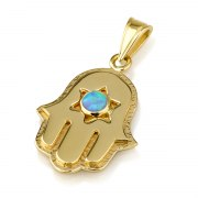 14K Gold Classic Hamsa Pendant with Star of David and Opal Stone