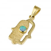 14K Textured Yellow Gold Hamsa Necklace with Opal Stone