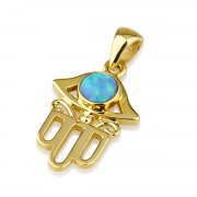 14K Yellow Gold Ornate Hamsa Necklace with Opal Stone