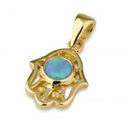 14K Gold Stylish Hamsa Necklace with Opal Evil Eye