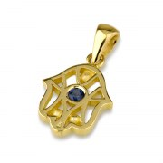 14K Gold Hamsa Necklace with Blue Sapphire